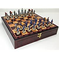 US American Civil War Chess Set W/ 17 High Cherry & Burlwood Color Gloss Storage Board by HPL [並行輸入品]