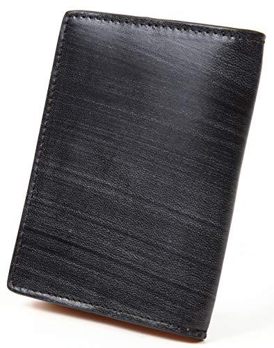 【ポルトラーノ】portolano ブライドルレザー 小銭入れ BOX型 イタリア革 カード収納 ボタン式 (ブラック)
