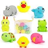 JoyGrow お風呂 おもちゃ シャワー あびる かわいい動物 8個セット アヒル カエル ウサギ ピヨピヨ オモチャ収納袋 お風呂ハンモク 2つの吸盤付き