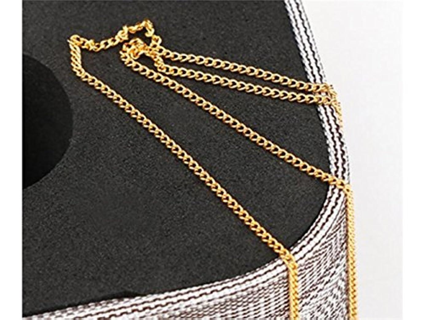 バリケード定義するとてもOsize キラキラ合金ビーズボールラインチェーンネイルアートチェーンDIYの装飾(シルバーバックルチェーン) (色 : Golden, サイズ : 长20cm)