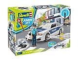 ドイツレベル 1/20 ジュニアキットシリーズ ポリスカー w/フィギュア 色分け済みプラモデル 00820