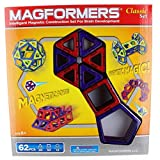 Magformers Classic 62-piece Magnetic Construction Set (レッド&パープル)
