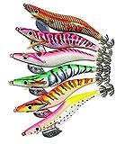 エギ エギング 3.5号 釣り アオリイカ スミイカ エギセット 6本 安全カバー付き 仲間を誘ってイカ釣りに行こう