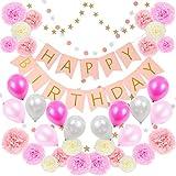 Sunny Bran 誕生日 飾り付け HAPPY BIRTHDAY デコレーションセット ペーパーフラワー バルーン ガーランド マスキングテープ付き セット (ピンク)