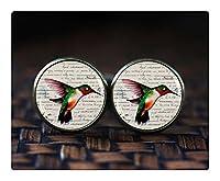 ハチドリのカフスボタン、鳥のカフスボタン、ハチドリジュエリー、自然のカフスボタン、ハミングバードギフト、ビクトリア朝の鳥のカフスボタン