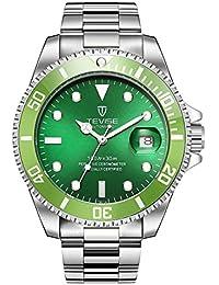メンズ 腕時計 ビジネス クラシック 日本製クォーツ 日付表示 アナログ ステンレスバンド ベゼル タイムレス 通勤 (グリーン)