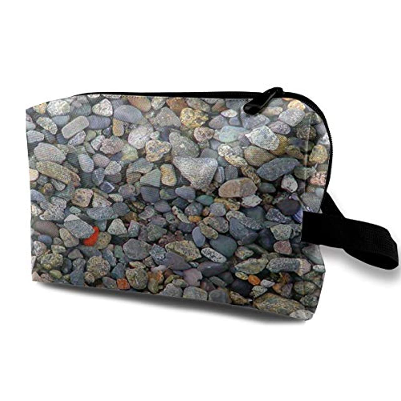 駐地テスピアン首相Beach Stones 収納ポーチ 化粧ポーチ 大容量 軽量 耐久性 ハンドル付持ち運び便利。入れ 自宅?出張?旅行?アウトドア撮影などに対応。メンズ レディース トラベルグッズ
