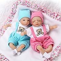 Pursue Baby Lifelike MiniベビーTwin人形with Paintedヘア、8インチソフトビニールCute LittleベビーAlive人形手ポケットトイ