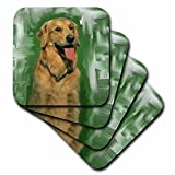 Dogs golden retriever–ゴールデンレトリバー–コースター set-of-4-Soft ゴールド cst_4022_1
