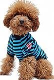 (Banly Shop)ペット服 ボーダー ペット わんちゃん ウェア パーカー 小型犬 中大型犬 コットン 犬服 可愛い お散歩 春 夏 5サイズ 4色 (M,blue)