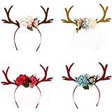 Tinksky 4pcs Deer Antler Headband with Flowers Blossomノベルティパーティーヘアバンドヘッドバンドクリスマスファンシードレス衣装コスチュームアクセサリー