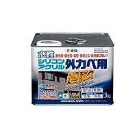 アサヒペン 水性シリコンアクリル外かべ用 ホワイト 8KG 【まとめ買い3缶セット】