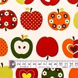おしゃれリンゴのひみつ(アイボリー) ラミネート(厚み0.2mm)生地 ハンドメイド 手作り用生地 0.5m単位でご注文いただけます。 T0252000
