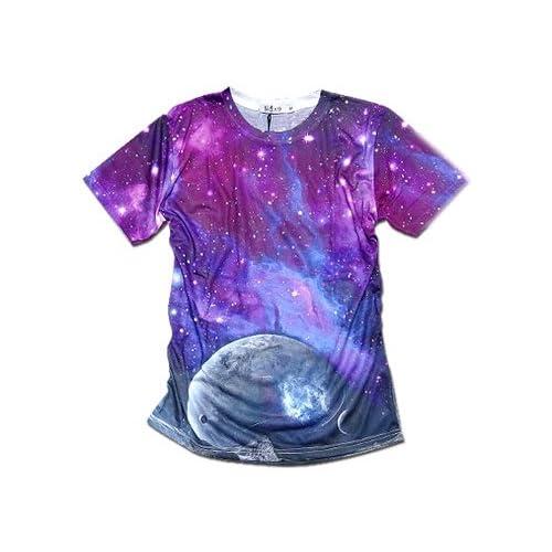 Clack メンズ Tシャツ / 宇宙 ギャラクシー 総柄 プリント ダンス ウェア カットソー ギャラクシーC S [ ポリエステル 65%綿 35% ] 【正規品】