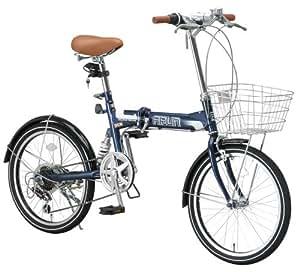 ARUN(アラン) 20インチシマノ6段変速折りたたみ自転車 [LEDライト/コイルタイプワイヤー錠/カゴ/リアサスペンション標準装備] ネイビー MSB-206AS