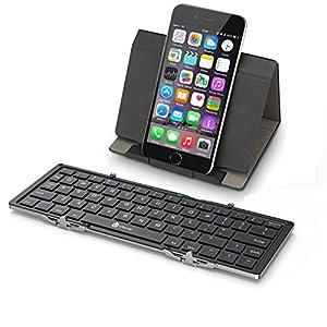iClever Bluetoothキーボード 折りたたみ式 レザーケース スタンド付き ミニキーボード スマホ タブレット 専用 iPhone iPad Android Mac 対応 ブラック