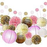 16個ゴールドピンクホワイト装飾紙 Pom ポンポンランタンポルカドット吊りガーランドのために結婚式誕生日ベビーシャワー卒業パーティーデコレーションパック