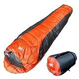 丸洗いOK White Seek 寝袋 シュラフ マミー型 耐寒温度 -5℃ コンパクト収納 オールシーズン (オレンジB)