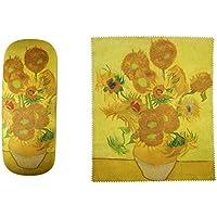 Van Gogh Sunflowers Painting Art premium quality eyeglass case and matching Sunflowers Painting art microfiber eyeglasses cleaning cloth