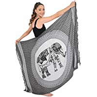 Island Style Clothing Sarong Mandala Elephant Tribal Soft Beach Coverups for Women Bikini Wrap + Coconut Clip