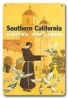 22cm x 30cmヴィンテージハワイアンティンサイン - 南カリフォルニア - ユナイテッドエアラインズ - スペインのミッション、パドレ摂食鳥 - ビンテージな航空会社のポスター によって作成された スタン・ガリ c.1950s