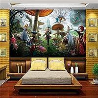 Bzbhart 3D注文のサイズ のの壁紙の居間の子供の壁画アリスの不思議の国 の絵画の背景絹の壁紙for-300cmx210cm
