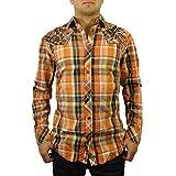 ロア男性用エンコードボタン上部織込みシャツ