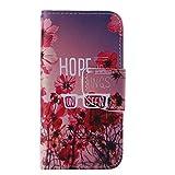 iPhone 5C ケース [強化ガラスフィルムを無料で贈ります], OMATENTI Apple iPhone 5C 高級PUレザー ケース 手帳型 保護ケース カード収納ホルダー付き 横置きスタンド機能付き マグネット式 スマホケース (P1, レッド)