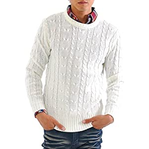 (スペイド) SPADE ニット メンズ カットソー セーター Vネック Uネック ケーブル編み 【q146】 (XL, Uネック×ホワイト)
