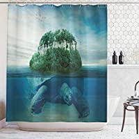 (180cm W By 190cm L, Multi 11) - Ambesonne Sea Animals Decor Collection, Giant Turtle Carrying Island on Back Swimming under the Ocean Fantasy Photo Pattern, Polyester Fabric Bathroom Shower Curtain, 190cm Long, Green Grey