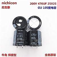 FidgetGear 2PCS 470uf 200v Nichicon GU 25x25mm 200V470uFスナップインPSUコンデンサ