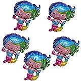 D DOLITY 5個 マーメイドマイラー風船 おもちゃ パーティー小物 人魚 バルーン