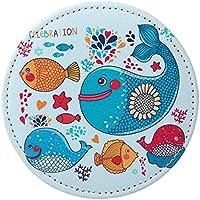 HuaQingPiJu-JP ミニラウンド漫画魚のパターン小さなガラスミラーサークル工芸装飾化粧品アクセサリー