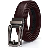 Xhtang Men's Solid Buckle with Automatic Ratchet Leather Belt 30mm Wide 1 1/8""