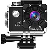 SOOCOO アクションカメラ 4K 超高画質 2000万画素 手振れ補正 wifi搭載 リモコン付き 170度広角 30m防水 2インチ液晶画面 1350mAHバッテリ2個 HDMI出力可能 25個付属品付き C30R ウェアラブルカメラ ブラック
