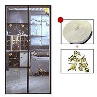 HUYYA 磁気カーテン ドア、防虫網ドアヘビーデューティー自動式 磁気スクリーンマジックテープセルフシールアンチバグ&昆虫,Brown 1_40x88in/100x220CM
