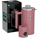 Coffee Gator フレンチプレス コーヒーメーカー 1000ml(ピンク)ステンレス製で頑丈・保温性抜群 約4杯分 携帯用ミニ容器付