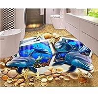 Weaeo カスタム3Dフロアタイルドルフィンビーチシェルの壁紙の写真3Dフロア壁の防水壁紙3Dフロア壁紙-200X140Cm