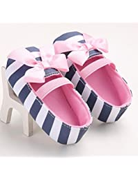 Ecosin? Baby Girl stripe Bowknot Shoes Toddler Soft bottom toddler shoes (11/0-6months) by Ecosin