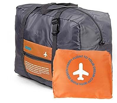 【Ludus Felix】スーツケースの持ち手に通せる折り畳みバッグ ポケッタブルボストンバッグ  折りたたみ トラベルバッグ  超軽量バッグ フォールディングバッグ 全4色 (オレンジ)