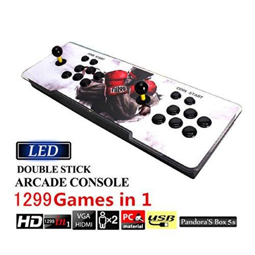 1299in1 ゲームアーケード パンドラボックス 5S ダブルデラックス コレクション ファイトスティック トーナメント アーケードコントローラー LEDライトバー搭載