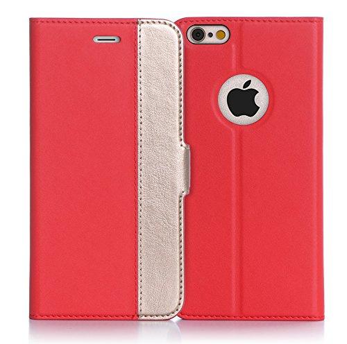 iPhone6s ケース iPhone6ケース ,Fyy ハンドメイド 良質PUレザーケース 手帳型 保護カバー カード収納ホルダー付き スタンド機能付 マグネット式 スマートフォンケース レッドxゴールド