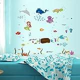 人魚姫 海中の動物 ウォールステッカー動物 wall sticker ウォールペーパー 動物 壁紙 ウォールシール 60*90cm