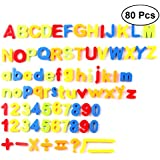 YeahiBaby 80PCS Educational Insights Magnetic Letter and Numbers Alphabet Refrigerator Fridge Magnets Kids Early Educational Toys (Color Mixing)