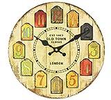 木製 壁掛け 時計 北欧風 アンティーク ウッド 調 ロンドンオールドタウン 電池付き