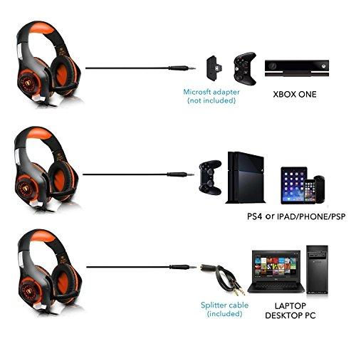 Beexcellent GM-1 ゲーム用 軽量 ヘッドホン ゲーミングヘッドセット PS4 PC スマホ等に対応 重低音 騒音隔離機能付き - オレンジ