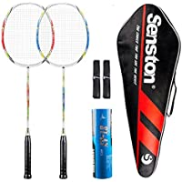 Senstonバドミントンラケットセット2ピースバドミントンラケットグラファイトBadminton Rackets withラケットカバー1/2ダースShuttlecockと2Overgrips (ランダムカラー)