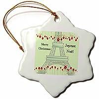 3drose PSクリスマス–Joyeux Noel–Merry Christmas inフランス–エッフェル塔–Ornaments 3 inch Snowflake Porcelain Ornament orn_57236_1