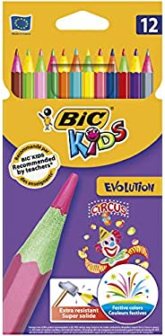 BIC Kids Evolution Circus Colouring Pencils - Assorted Colours, Pack of 12