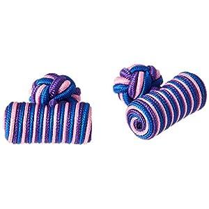 カフスボタン ゴムカフス シリンダー 紫&ピンク&青 CF-GUMCYLINDER-S58